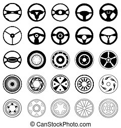 Silhouettes of black colour of wheels and automobile disks. A vector illustration