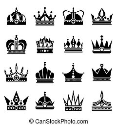 Silhouettes of black crowns - Vector silhouettes of black...
