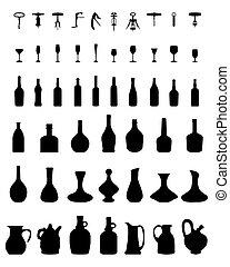 bottles, glasses and corkscrew