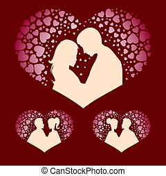 silhouettes of boy and girl with hearts set