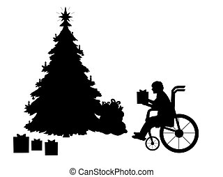 Silhouettes of boy in a wheelchair holding a gift near the christmas tree