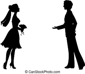 Silhouettes of bride and groom. Eps 8 vector illustration