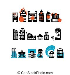 Silhouettes of buildings from natural disasters. Destruction of city. Flooding and fire. Consequence of earthquake - shattered home.
