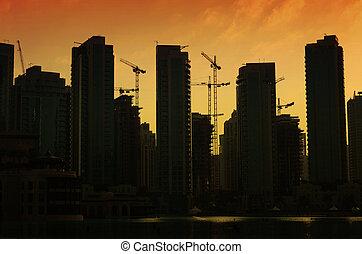 Silhouettes of buildings in Dubai