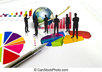 Silhouettes of business and business graph with earth...