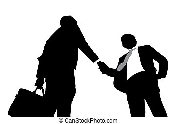 Silhouettes of business men handshaking