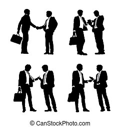 Silhouettes of business men meeting