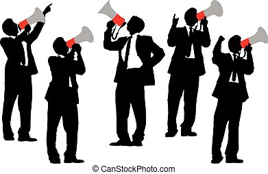 Business men shouting by megaphone