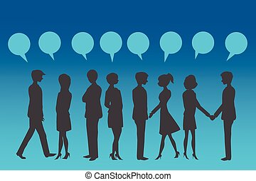Silhouettes of Business People with blue speech bubble.