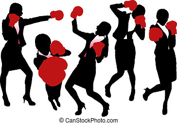 Silhouettes of Business woman boxing and punching, business competition concept.
