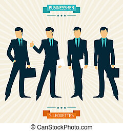 Silhouettes of businessmen in retro style.