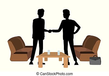 Silhouettes of businessmen shaking hands