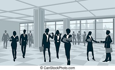 Silhouettes of businesspeople in office