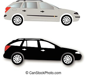 Silhouettes of Car vector black