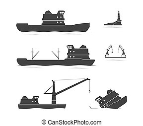 Silhouettes of cargo ships and floating crane. Vector...