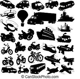 silhouettes of cars, bikes, motorcycles, ships, aeroplanes