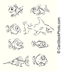 Silhouettes of cartoon fishes