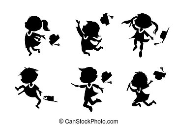 Silhouettes of cartoon graduate student - Silhouettes of...