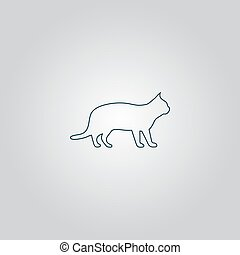 silhouettes of cat - Silhouettes of cat. Flat web icon or...