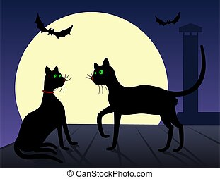 Silhouettes of cats at night.