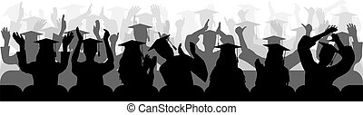 Silhouettes of cheerful applauding graduates sitting in chair, close-up. Vector illustration.