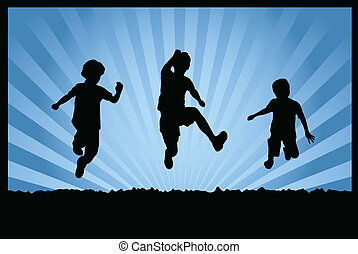 children jumping - Silhouettes of children jumping on...