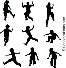 children jumping - Silhouettes of children jumping - vector