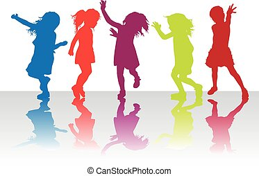 Silhouettes of children playing.