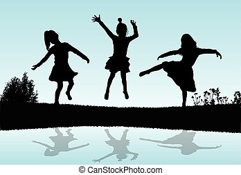 Silhouettes of children playing near a water.