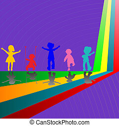 silhouettes of children playing on purple background