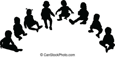 Silhouettes of children - silhouettes of children