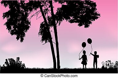 Silhouettes of children with balloon.