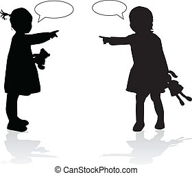 Silhouettes of childrens