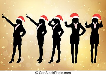 Silhouettes of christmas business woman - Silhouettes of...