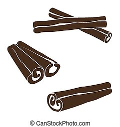 Silhouettes of cinnamon sticks, hand drawn vector...