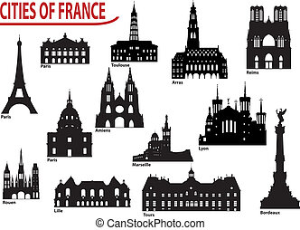 Silhouettes of cities in France - The most famous building...