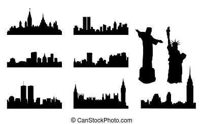 Silhouettes of cities on a white background. A vector illustration