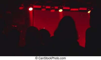 Silhouettes of concert crowd in front of bright stage lights. 1920x1080