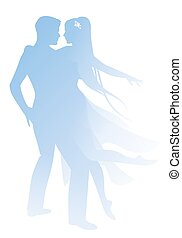Silhouettes of couple of dancers holding each other. Girl with long hair and dancing clothes hugging her partner isolated on white background