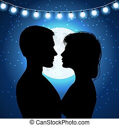 Silhouettes of couple on the moonlight background