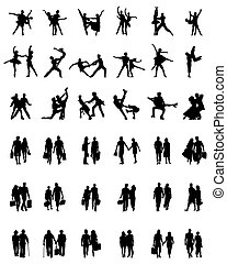 silhouettes of couples