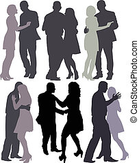 couples dancing - silhouettes of couples dancing