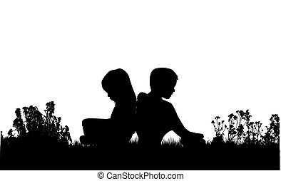 Silhouettes of couples.
