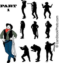 Silhouettes of cowboy