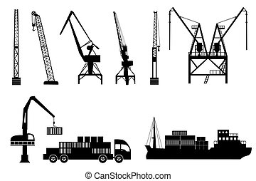 Silhouettes of cranes, truck and sh - Silhouettes of loading...