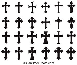 Silhouettes of crosses