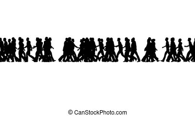 Silhouettes of crowd people walking
