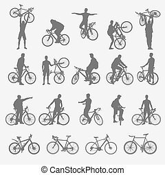 Silhouettes of cyclists and bicycles