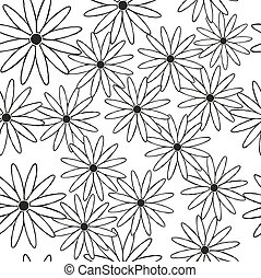 Silhouettes of daisies in black as a seamless background