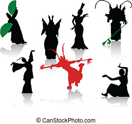 Silhouettes of dancers. Chinese ope
